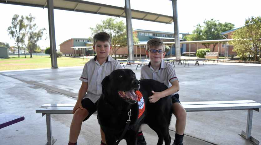 Jake Griffiths and JJ Greenaway, from OLSCC, with Story Dog Sammy.
