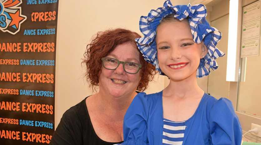 DANCE EXPRESS: Teacher Karen Bishop with student Riley Albert, whose mother Kevene was also a dance student of Ms Bishop's.