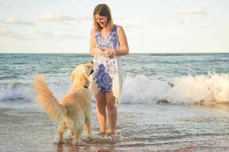 Mel Scott with assistance dog Frankie.