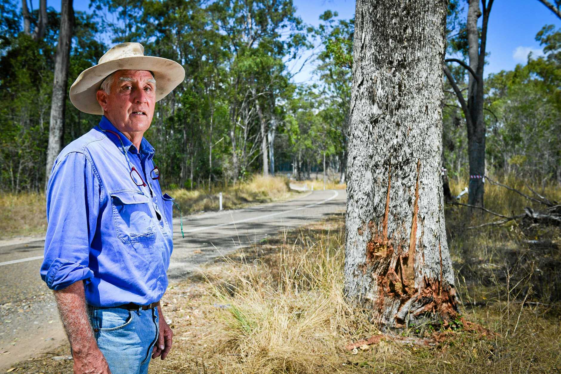 A vehicle hit this tree just 3 weeks prior to Monday's fatal accident just meters away.John Bell owns the land adjacent to Monday's fatal crash and has concerns about the road given the number of other accidents there in recently years.