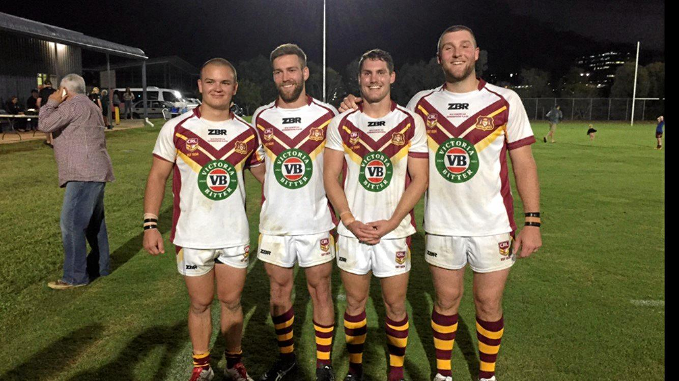 ALL SMILES: Kyle Kennedy, Anthony Colman, Joe Besgrove and Caleb Ziebell after playing for the NSW Country Rugby League team on Tuesday night. Michael Dwane absent.