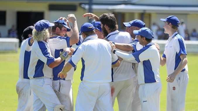 Tucabia Copmanhurst GI Hotel players swarm Bob McKenzie (centre) after he ran out Jamie Firth in the GDSC Premier LEague preliminary final.