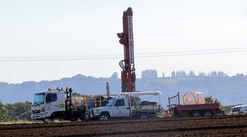 A drill is being used to take soil samples on the site of the new $534 million Tweed Valley Hospital at Cudgen.