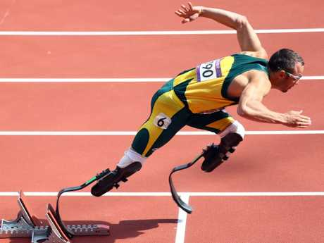 Oscar Pistorius in the Men's 400m Round 1 Heats at London 2012 Olympic Games. Picture: Paul Gilham/Getty Images