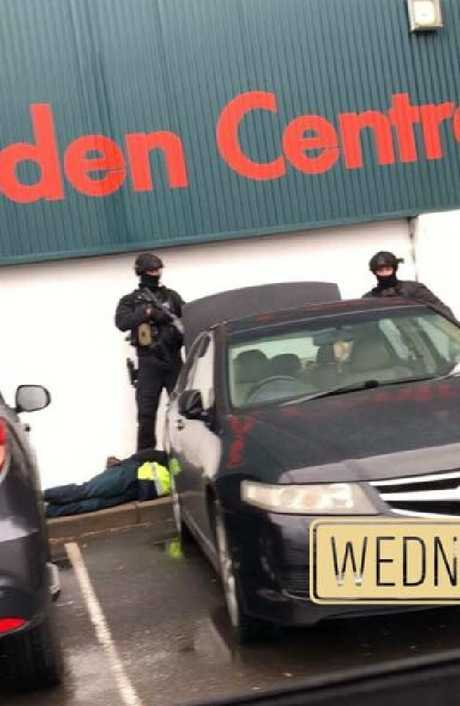 A witness provided this image of the police operation at Bunnings in Minchinbury.