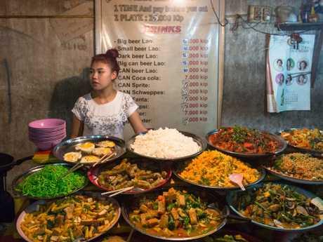 Street-food heaven at Luang Prabang night market, Laos.