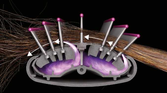 The new Dyson device uses a mixture of hot and cold air to manipulate wet hair to straighten or curl.