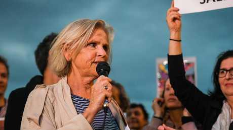 Defend the Sydney Opera House organiser Julie Macken speaks to demonstrators. Picture: AAP