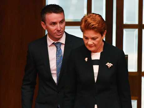 One Nation leader Senator Pauline Hanson with her adviser James Ashby. Picture: AAP