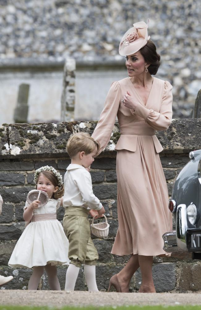 Kate with George and Charlotte at her sister Pippa's wedding in 2017. Picture: Getty Images