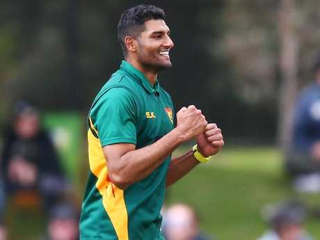 Tasmanian paceman Gurinder Sandhu celebrates his hat-trick on Wednesday. Picture: Getty Images