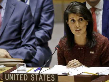 US United Nations Ambassador Nikki Haley address the United Nations Security Council. Picture: AP