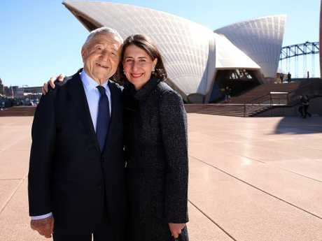 The premier with her dad Krikor — who helped build the Opera House as a young tradesman — in August 2018. Picture: Sam Ruttyn