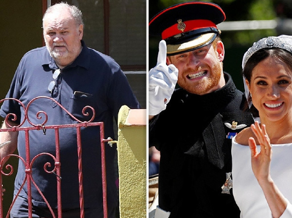 Harry and Meghan on their wedding day, right, and her dad Thomas Markle. Picture: Supplied