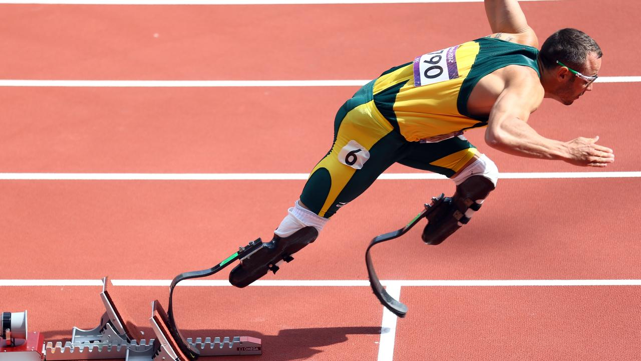 Oscar Pistorius in the Mens 400m at the London 2012 Olympic Games. Picture: Paul Gilham/Getty Images