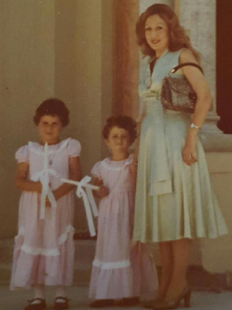 Gladys Berejiklian as a child on the left, pictured with her sister Rita and her aunt.