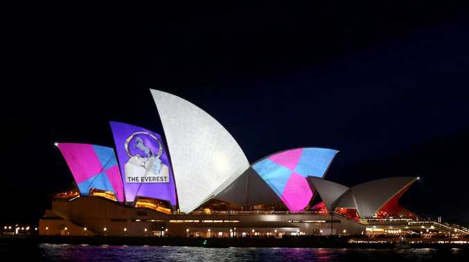 The Sydney Opera House is seen promoting The Everest race during the TAB Everest Barrier Draw. Picture: Getty