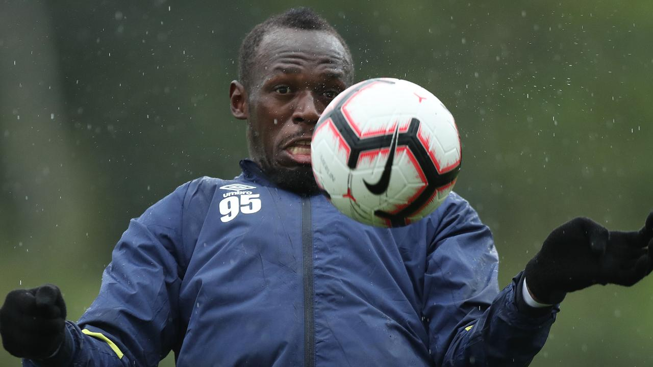 Usain Bolt trained with the reserves on Wednesday. Picture: Brett Costello