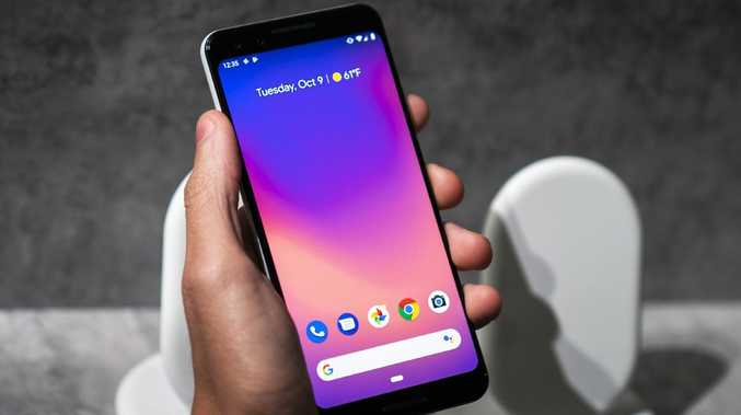 A guest holds the new Google Pixel 3 XL smartphone during a Google product release event. Picture: Getty