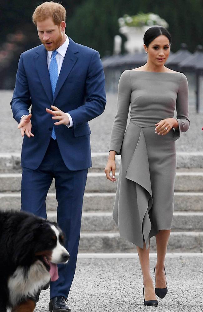 The Duchess of Sussex turned heads in  a Roland Mouret dress as she met Ireland's President during her trip to Dublin.