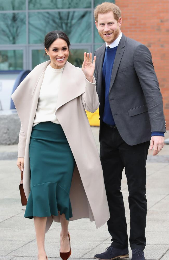 The Duchess opted for a coat from Macakge over a white Victoria Beckham top and green skirt designed by Toronto brand Greta Constantine  during  a surprise visit  to Belfast.  Picture:  Chris Jackson/Getty Images