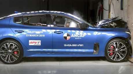 The Kia Stinger undergoing Ancap crash tests.