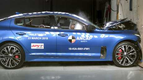 The Kia Stinger undergoing Ancap crash tests.