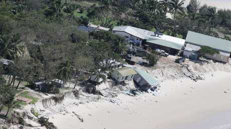 Damaged building on Great Keppel Island following cyclone Marcia. Picture: Peter Wallis