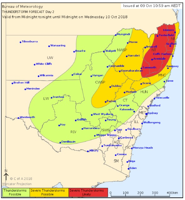 Severe storms are possible on the Northern Rivers this afternoon.