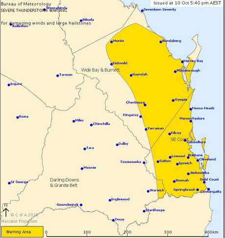 Storm warnings are current for most of south east Queensland. Photo: BOM