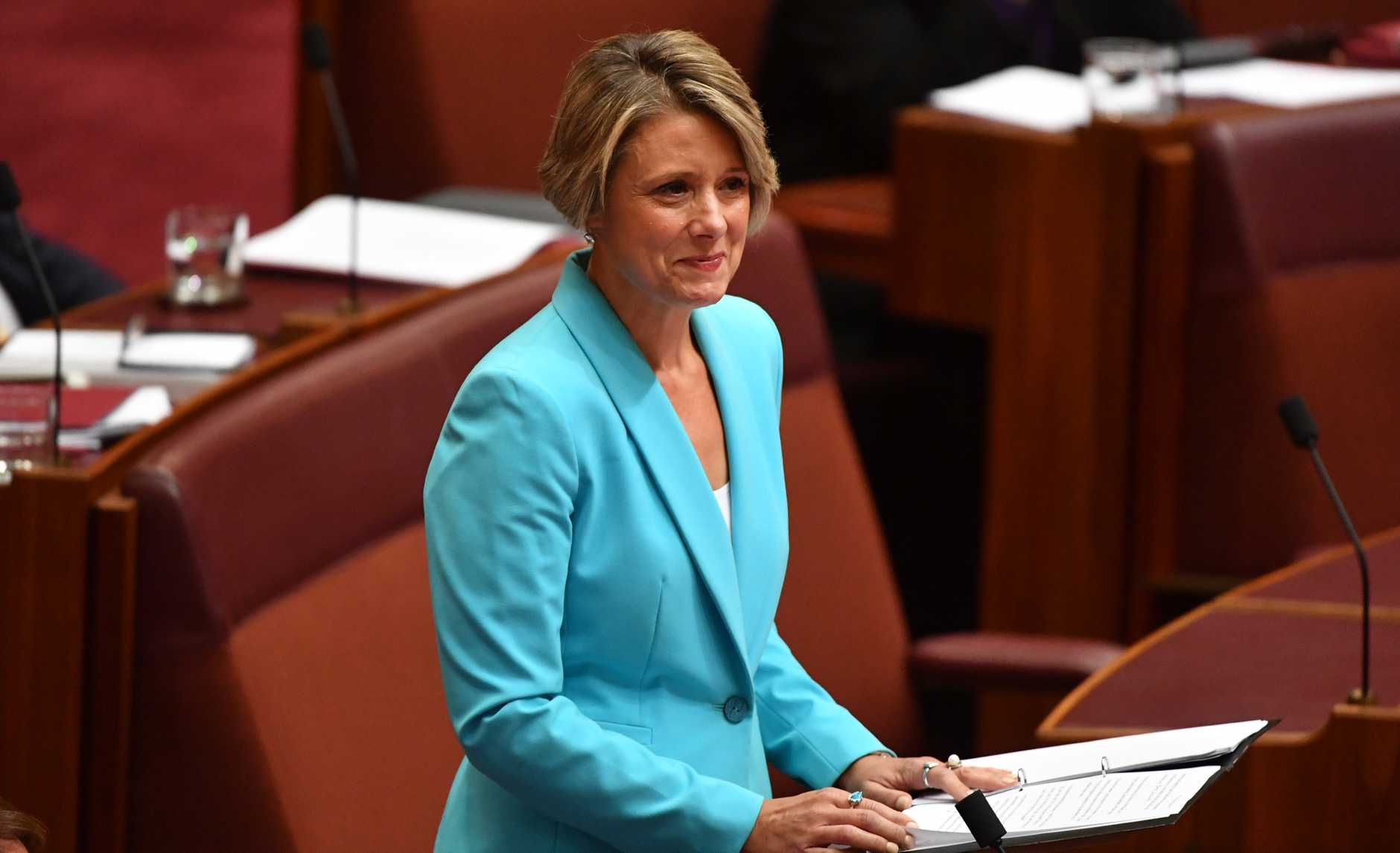 Labor Senator Kristina Keneally makes her maiden speech in the Senate chamber at Parliament House. Photo: AAP Image/Mick Tsikas