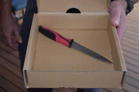 The knife used to threaten staff at the Hervey Bay Boat Club.
