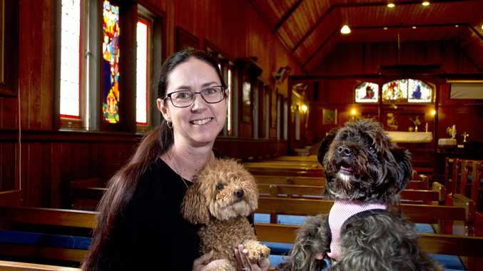 Reverend Sharon Baird holidng Lulu and Mitsy . Blessing of pets will be held this weekend at The Glennie Chapel. October 2018