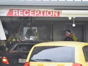 One person in hospital after Mercedes-Benz slams into motel