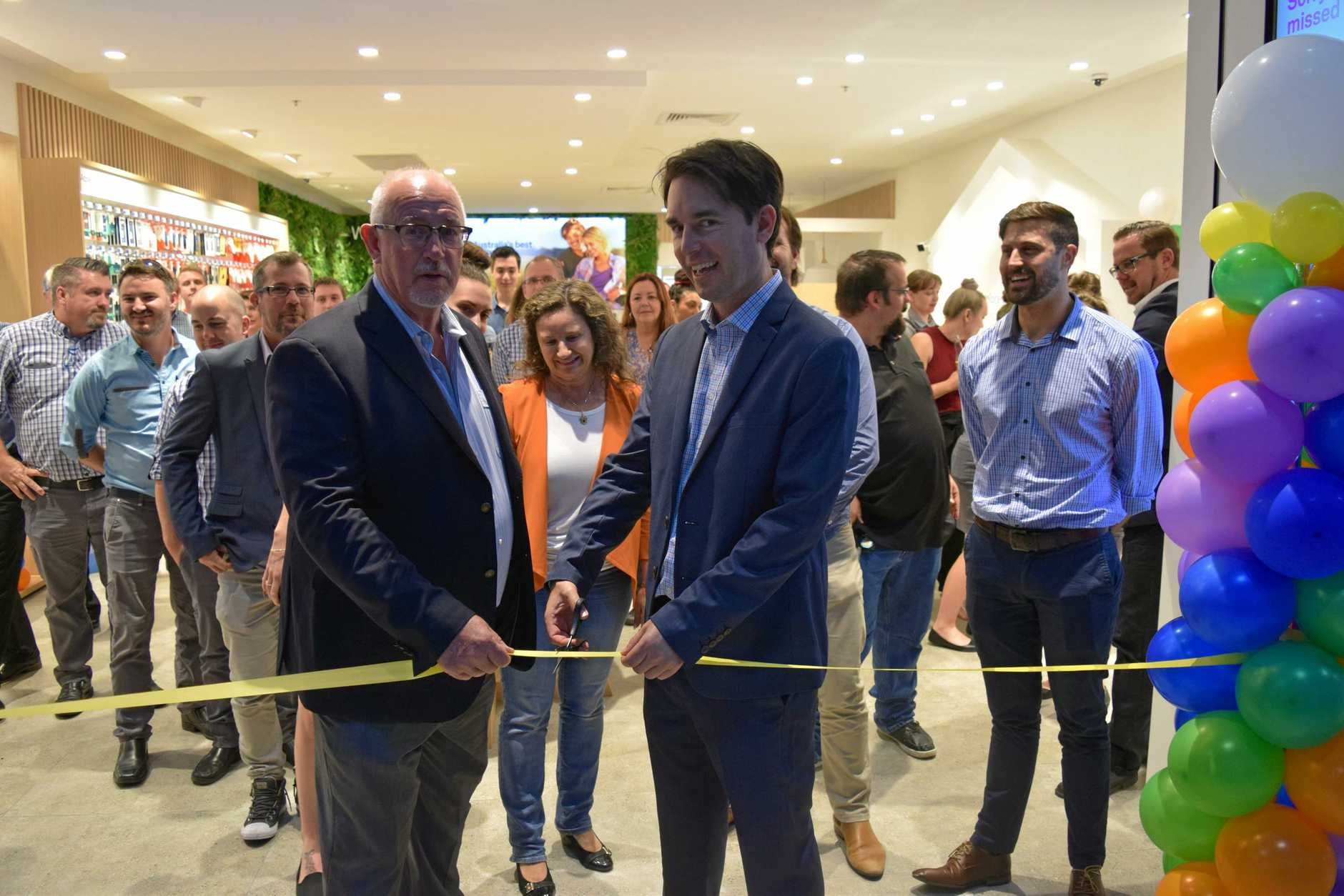 Telstra Store Maryborough held their official opening with CEO and owner James Fountain (left) and Fraser Coast Regional mayor George Seymour cutting the ribbon.