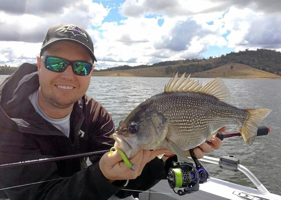 Matthew Osley with a quality Somerset Dam bass caught on a Keitech Plastic.