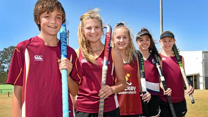 DONATION RECIPIENTS: State hockey representatives Preston Mushan, Taryn Knight, Leila Steffen, Meka Crick and Daniella Lourigan.