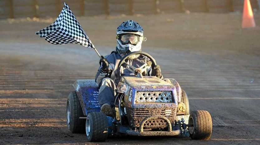 RACE IS ON: CQ Mower Racing Club member Sean Booy, pictured after winning the Australian championship in July, will be in action at the Yaamba track on Sunday.