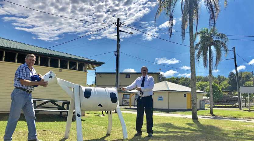 Peter Graham, Chief Steward of The Dairy Spectacular and Mark Bailey, Secretary of The North Coast National's A & I Society pull together for the 2018 agricultural show at The Lismore Showground.