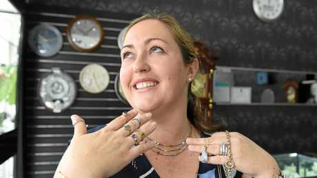 Myatt Jewellers relay for life fundraiser - Rebecca Myatt showing off some of the jewellery on offer.