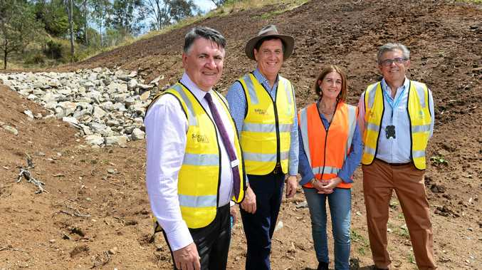 Seqwater CEO Neil Brennan, Minister Anthony Lynham, Healthy Land and Water CEO Julie McLellan and Seqwater chairman David Hamill.