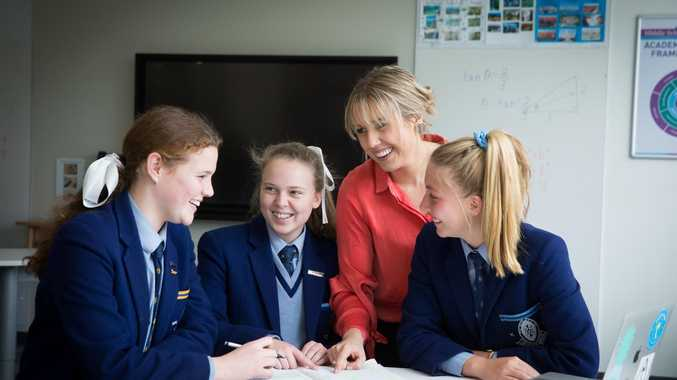 PASSIONATE: Teacher Emma Weber, with students (from left) Tilly McCormack, Lucy White and Olivia Goldsmith.