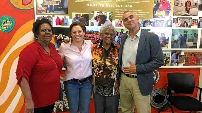 MANY TRIBES, ONE MOB: Aunty Sandra Morgan, Deputy Premier Jackie Trad, Aunty Ada Simpson and Dr Chris Sarra at Cherbourg ration shed.