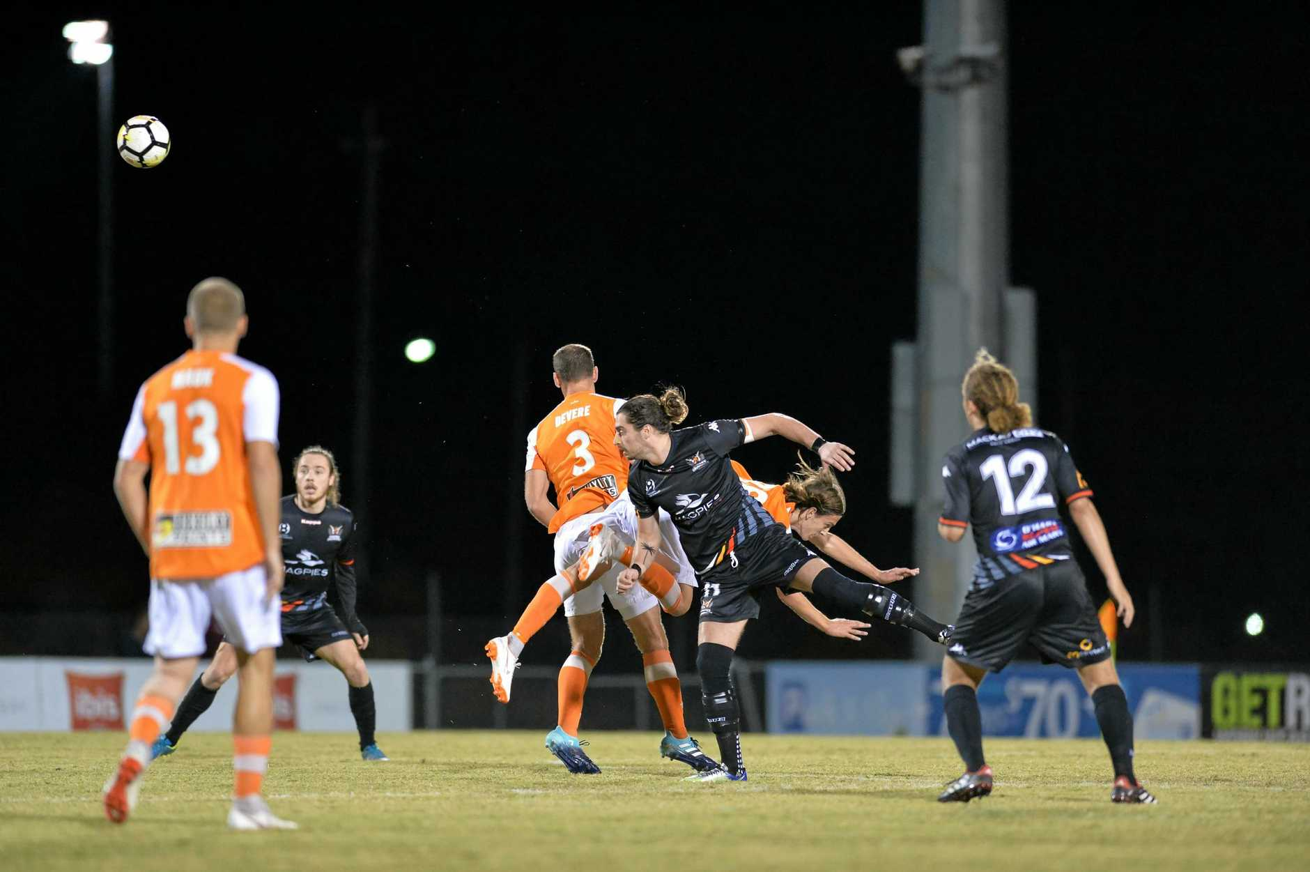 Brisbane Roar versus Magpies Crusaders at Sologinkin Oval, Mackay on Thursday, July 12, 2018.