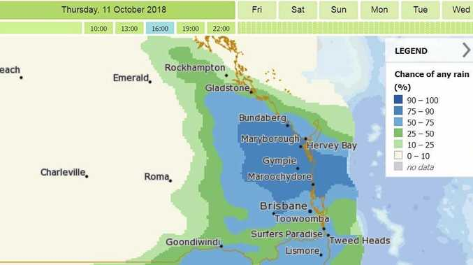 BoM: MetEye graphic forecast for 4pm today.