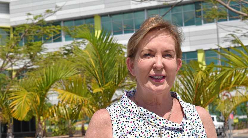 Shadow health minister Ros Bates speaks outside Mackay Base Hospital