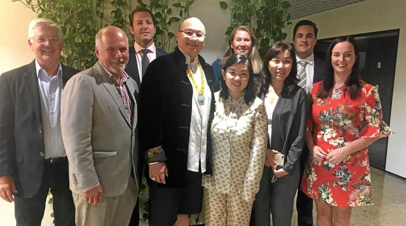 Pat O'Driscoll (Knight Frank), LSC Mayor Bill Ludwig, Ben McGrath (Knight Frank Partner & Head of Qld), CK and Isabella Wei, Mary Carroll (Capricorn Enterprise), Candy Yuan, Tom Gibson (JLL Qld Director), Member for Keppel Brittany Lauga
