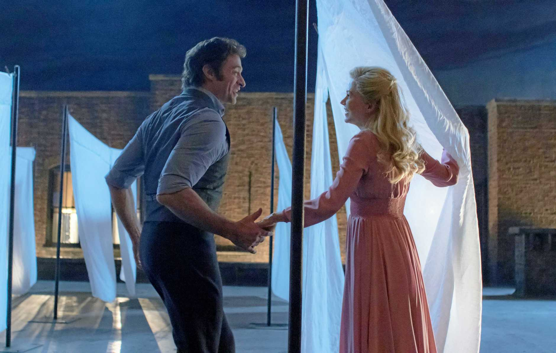 MUSICAL: Hugh Jackman and Michelle Williams in a scene from the movie  The Greatest Showman .