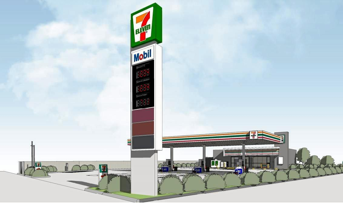 Plans and artist impressions of the proposed 7-Eleven service station at Nambour Connection Rd, Woombye.