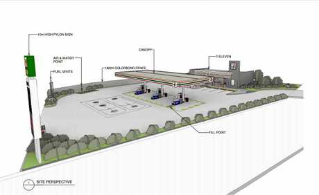 Plans and artist impressions of the 7-Eleven service station at Nambour Connection Rd, Woombye.